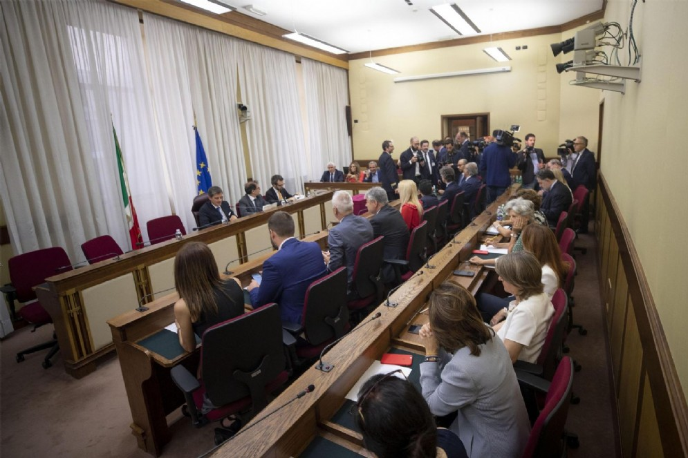 Un momento della riunione della commissione di Vigilanza sulla Rai, Roma, 1 agosto 2018