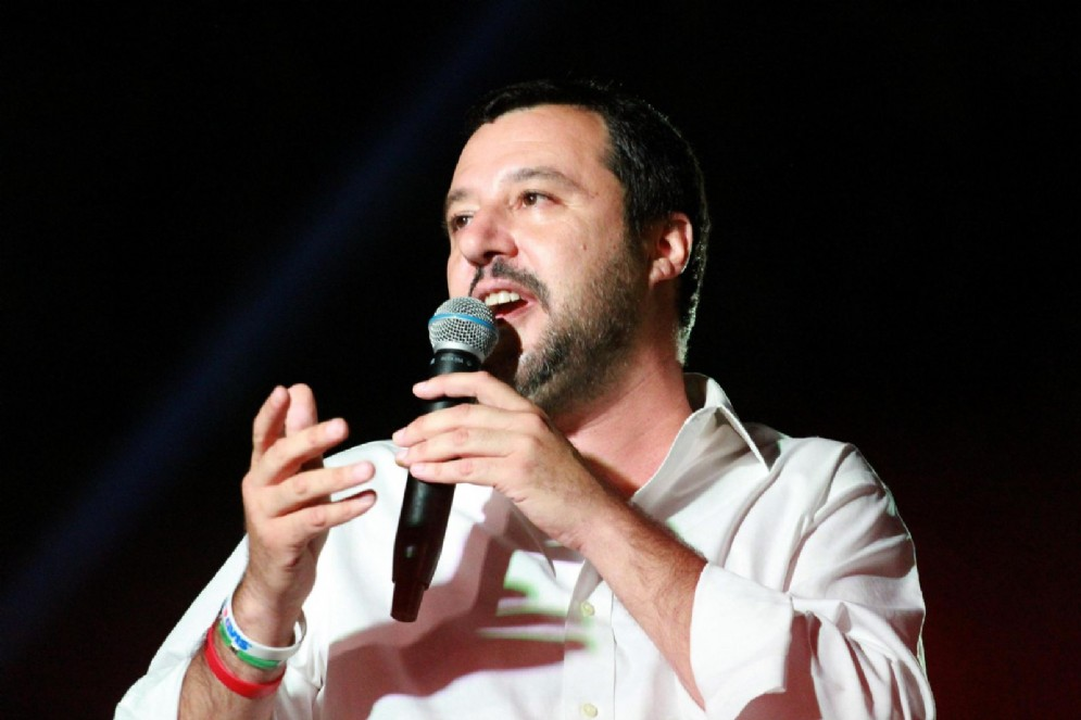 Matteo Salvini alla Festa della Lega dell'Emilia a Fontevivo, nel Parmense, 27 luglio 2018