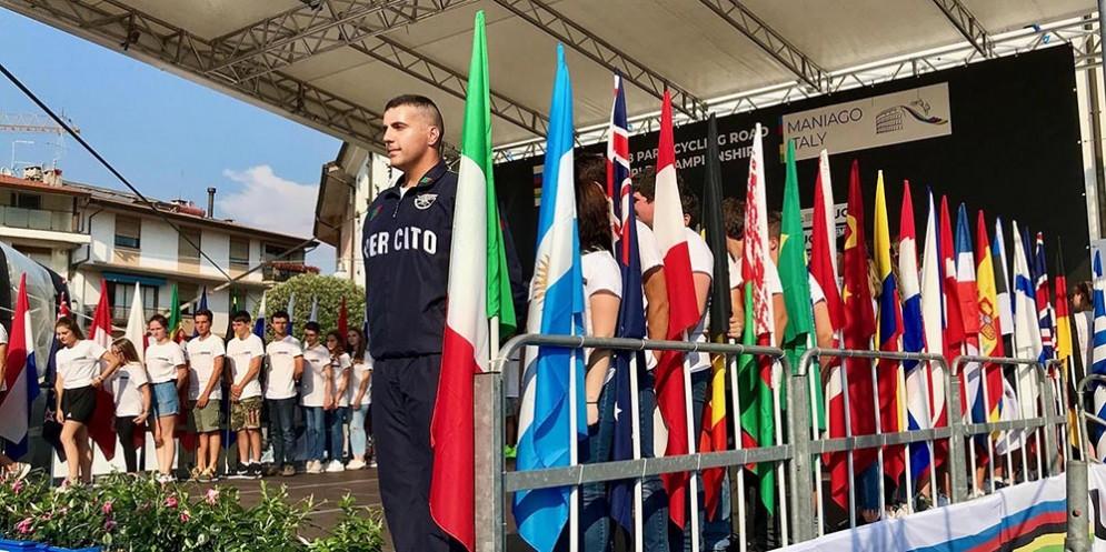 La cerimonia di apertura dei mondiali di paraciclismo in corso di svolgimento a Maniago