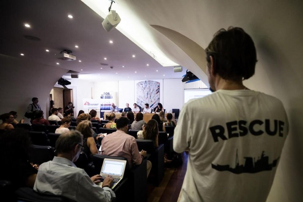 Un momento della conferenza stampa di Sos Mediterranee e Medici Senza Frontiere. Roma, 02 agosto 2018