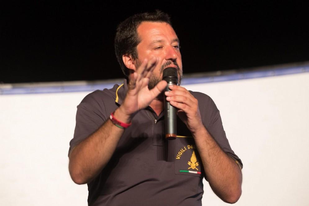 Un momento dell'intervento di Matteo Salvini in occasione della festa della Lega Nord