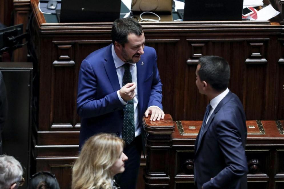 Matteo Salvini e Luigi Di Maio nell'Aula di Montecitorio