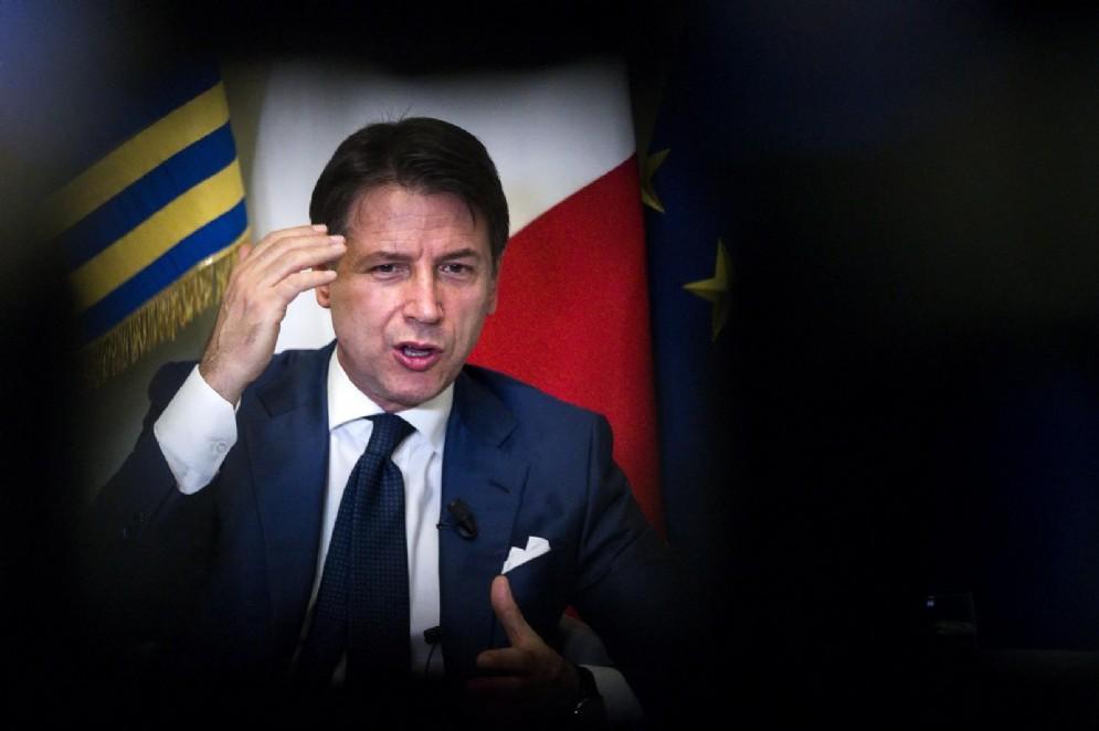 Il presidente del Consiglio, Giuseppe Conte, durante una conferenza stampa a Palazzo Chigi