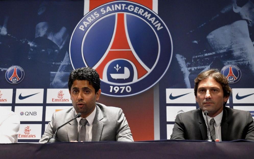 Leonardo con il presidente Nasser Al-Khelaifi ai tempi del PSG