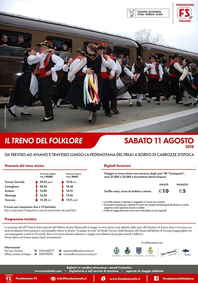 Da Treviso a Travesio con il 'Treno del Folklore': il programmma