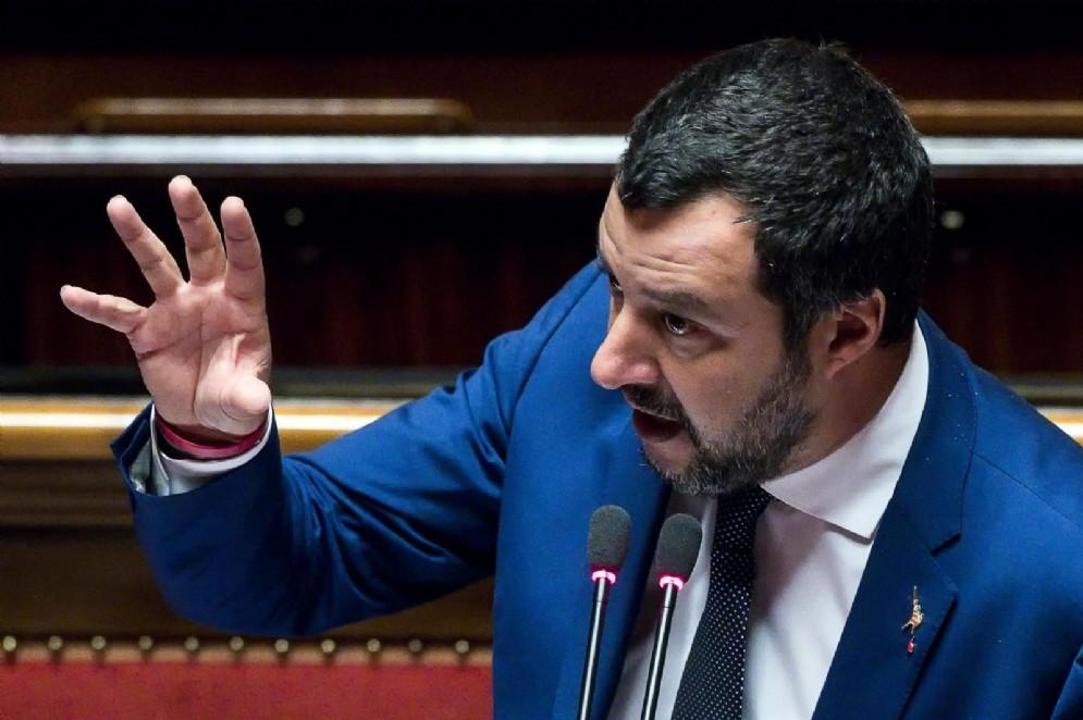 Matteo Salvini durante il question time al Senato, Roma, 26 luglio 2018