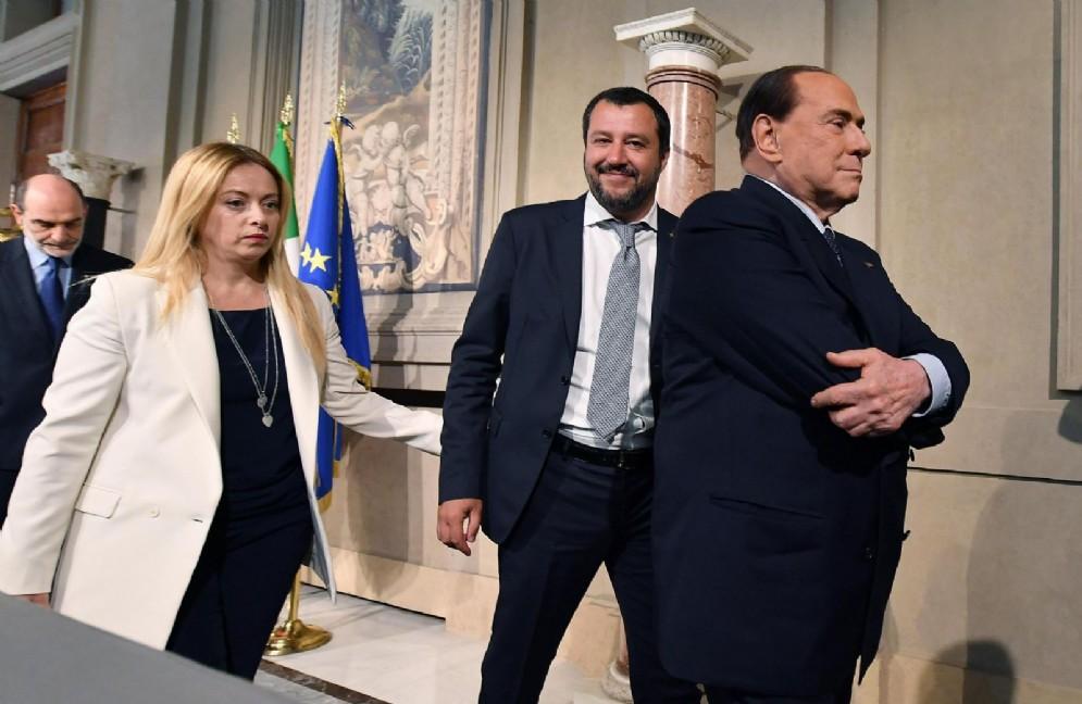 Giorgia Meloni, Matteo Salvini e Silvio Berlusconi