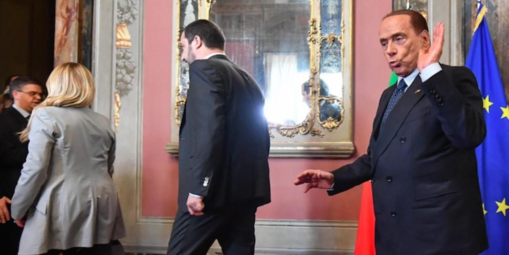 Silvio Berlusconi al Quirinale con Matteo Salvini e Giorgia Meloni