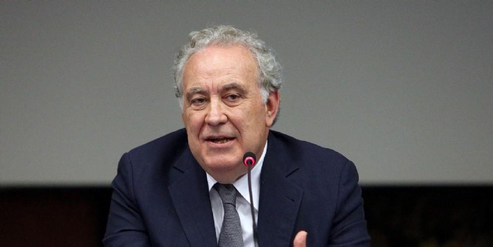 Michele Santoro durante la presentazione del programma Rai 'M'. Roma, 7 maggio 2018