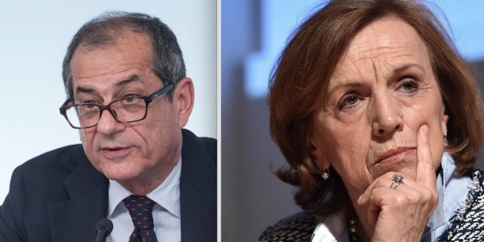 Il ministro dell'Economia, Giovanni Tria, e l'ex ministro Elsa Fornero