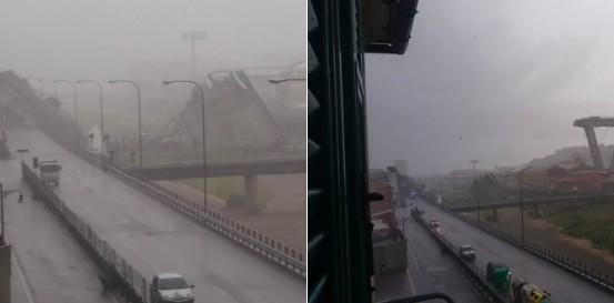 Il ponte dell'autostrada A10 crollato a Genova