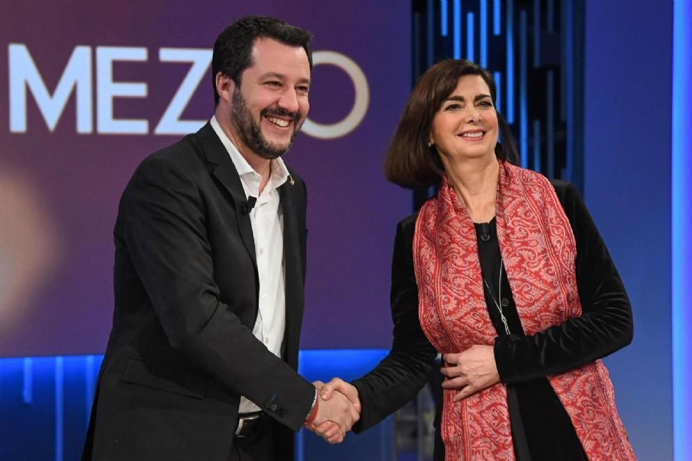 Matteo Salvini e Laura Boldrini ospiti della trasmissione di La7 Otto e mezzo