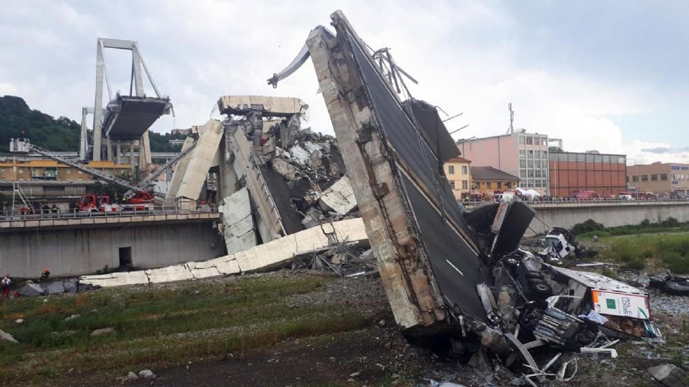 Il ponte Morandi crollato a Genova