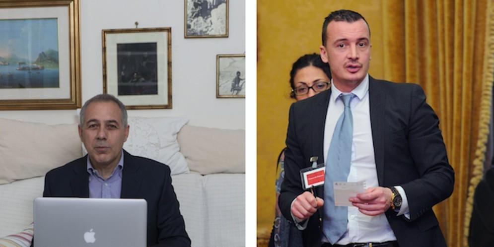 Il deputato Pd Michele Anzaldi e il portavoce di Palazzo Chigi Rocco Casalino (M5s)