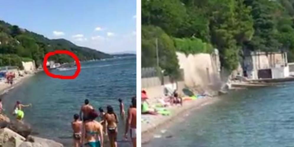 Trieste, barca senza controllo si schianta sulla costa