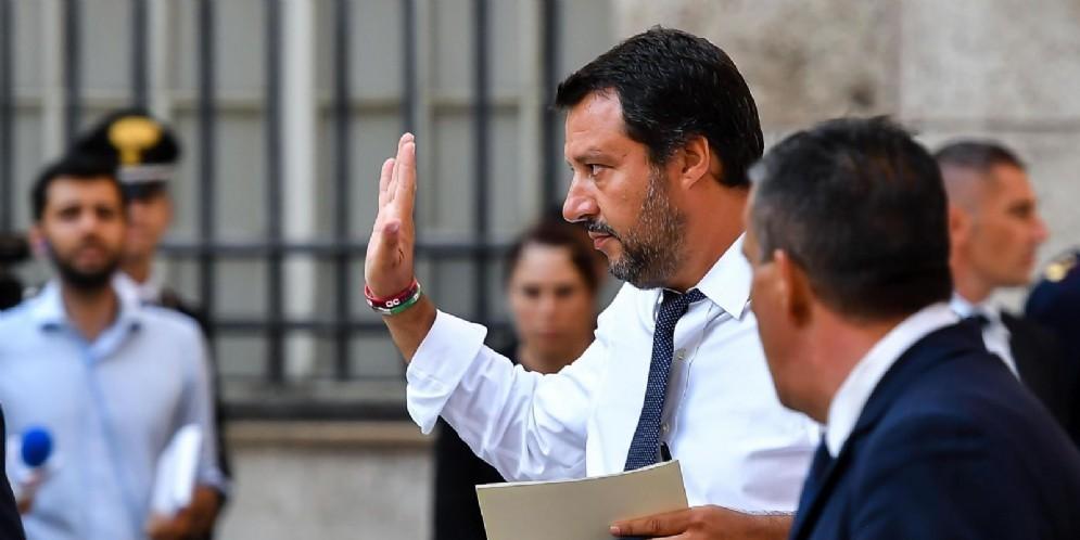 Matteo Salvini ai funerali a Genova