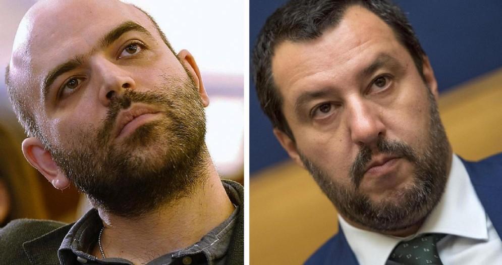 Matteo Salvini e Roberto Saviano in due immagini d'archivio