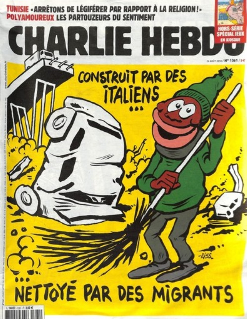La copertina del periodico satirico francese Charlie Hebdo dedicata alla tragedia del crollo del ponte Morandi a Genova