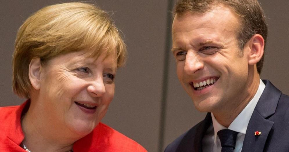 I presidenti della Germania, Angela Merkel, e della Francia, Emmanuel Macron