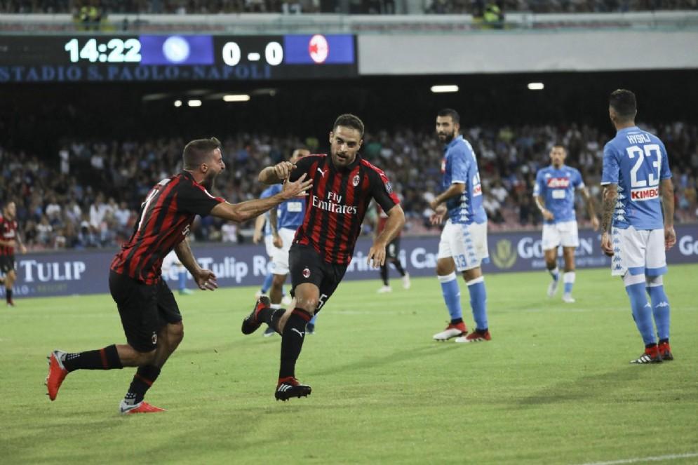 Bonaventura esulta dopo il vantaggio rossonero