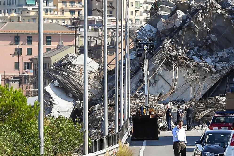 Le macerie del Ponte Morandi a Genova