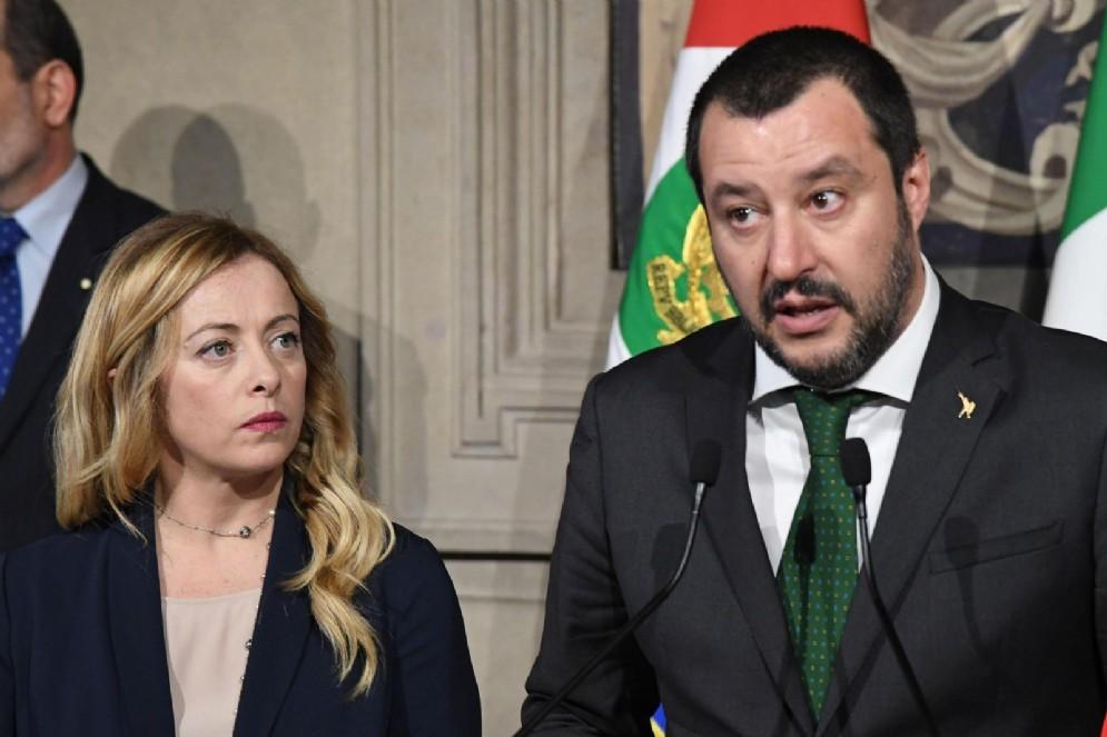 Giorgia Meloni e Matteo Salvini al Quirinale