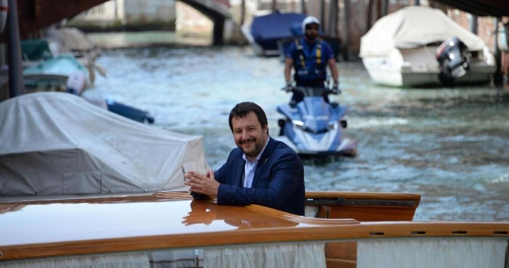 Il Ministro dell'Interno Matteo Salvini in motoscafo a Venezia