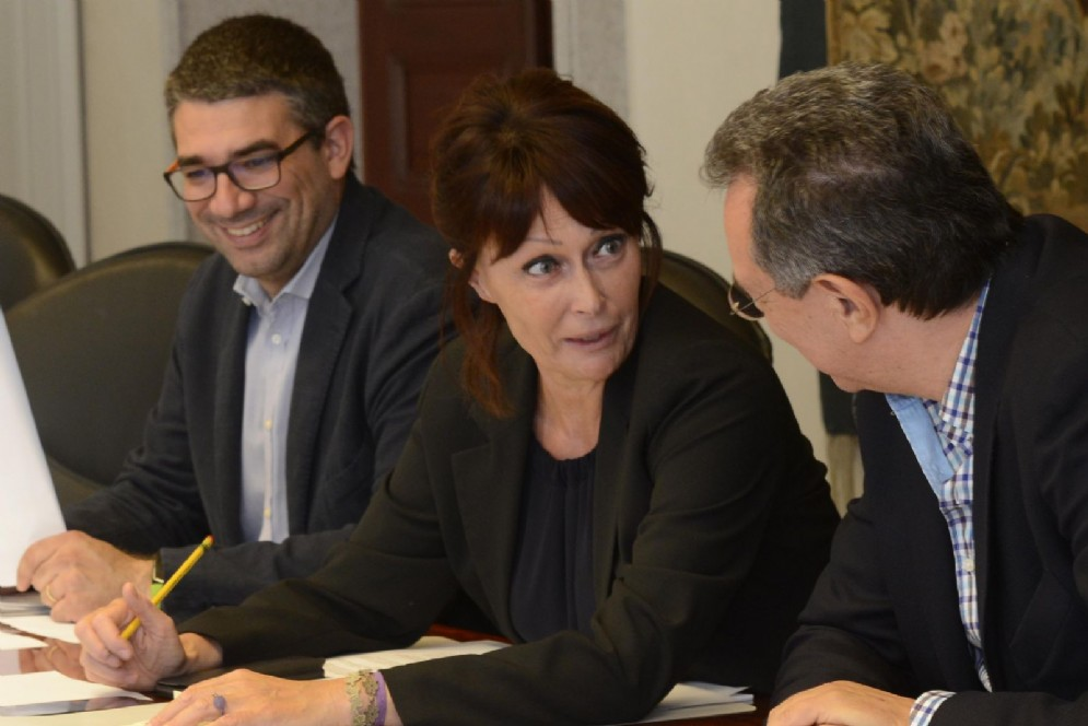 L' assessore alle Autonomie Locali Pierpaolo Roberti, al Lavoro Alessia Rosolen e al Territorio Graziano Pizzimenti
