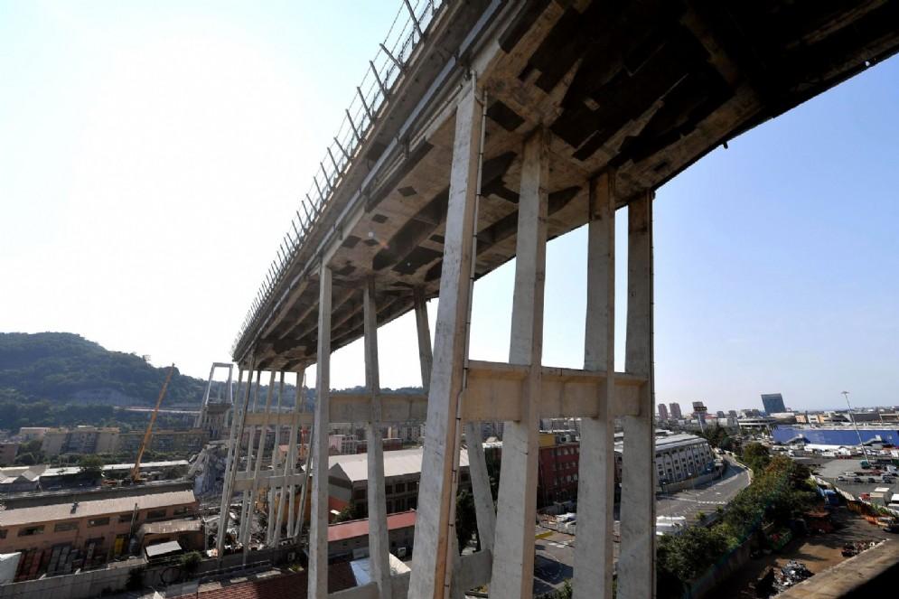 Lo stato della parte ovest di ponte Morandi a Genova, 23 agosto 2018