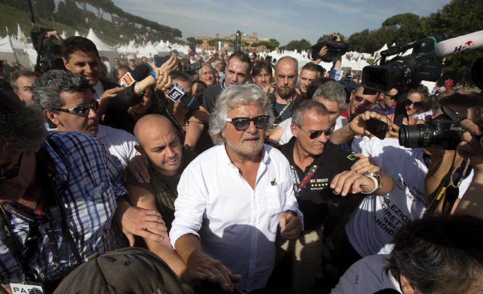 Beppe Grillo al Circo Massimo per la manifestazione Italia5Stelle. Roma, 11 ottobre 2014