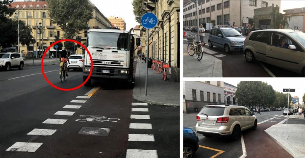 Sosta selvaggia e zero rispetto delle regole: anarchia sulla pista ciclabile di via Nizza