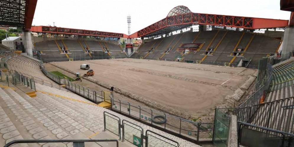 Lo stadio Rocco a lavori appena iniziati