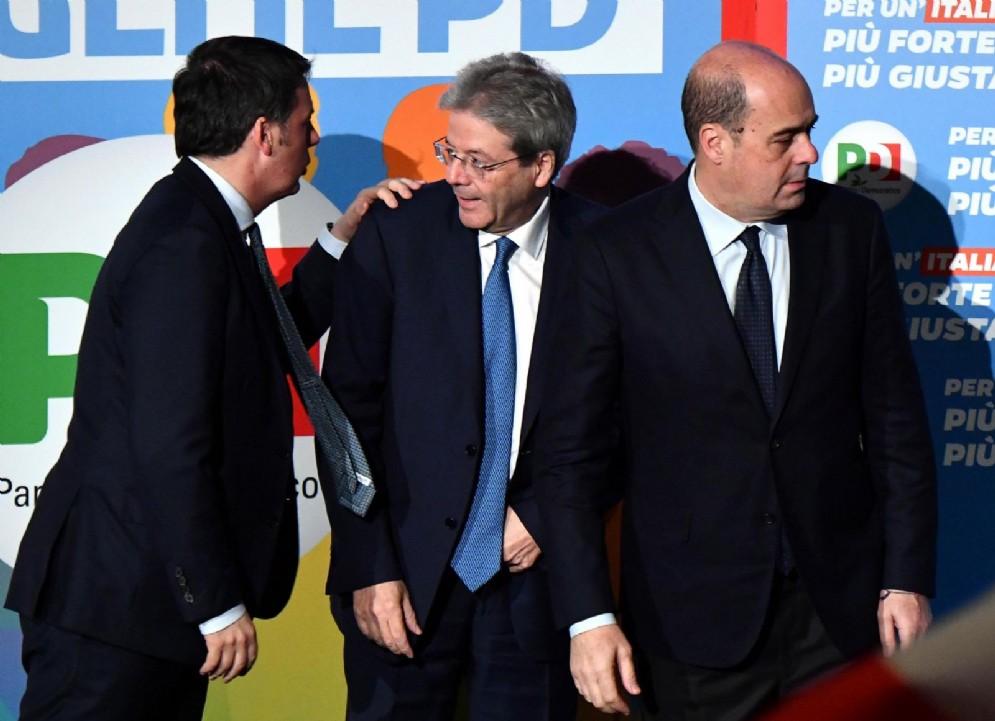 Matteo Renzi, Paolo Gentiloni e Nicola Zingaretti