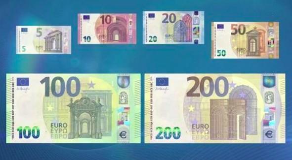 Le nuove banconote da 100 e 200 euro, in circolazione da maggio 2019