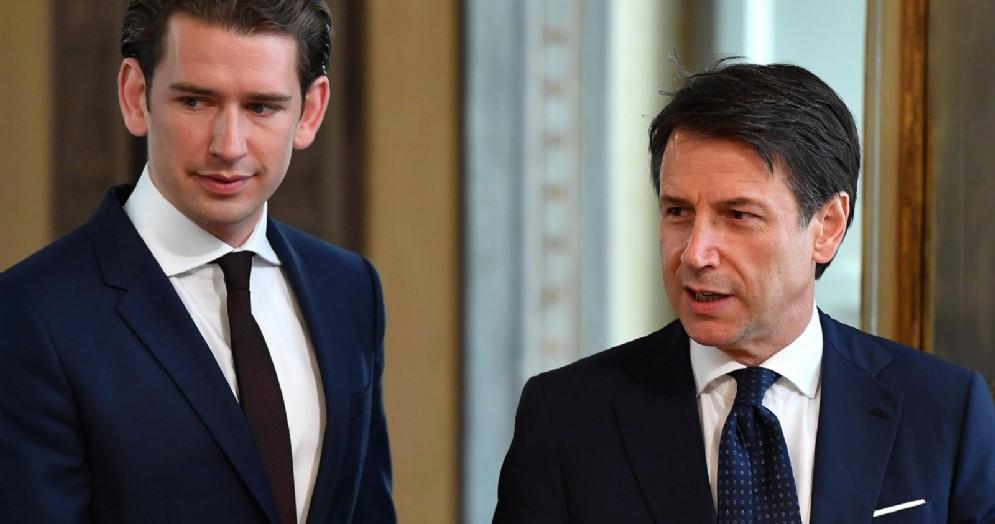 Il premier italiano Giuseppe Conte incontra il cancelliere austriaco Sebastian Kurz a palazzo Chigi