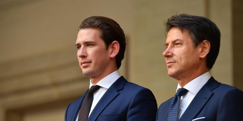 Il premier Giuseppe Conte con il cancelliere austriaco Sebastian Kurz