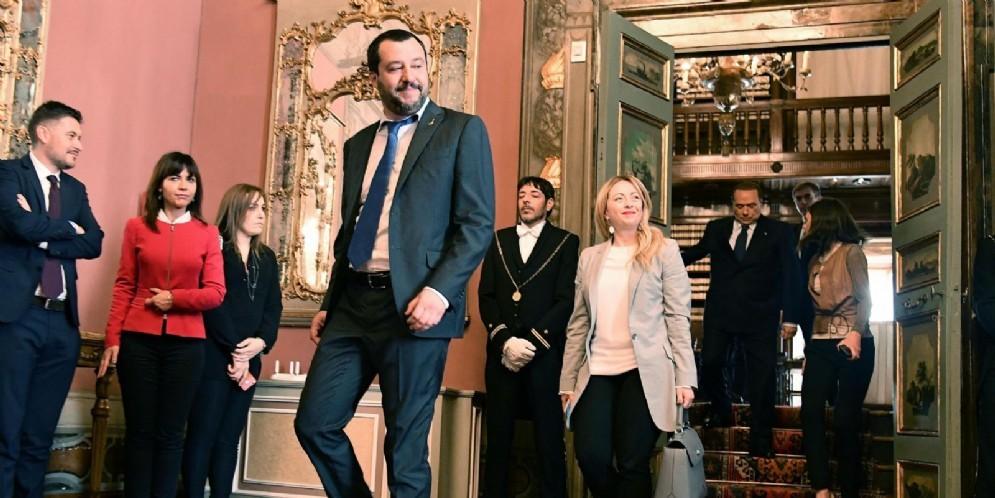 Matteo Salvini della Lega, Giorgia Meloni di Fratelli d'Italia e Silvio Berlusconi di Forza Italia