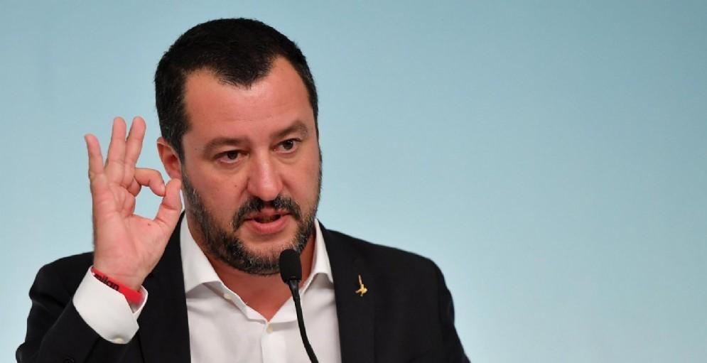 Il vicepremier e ministro dell'Interno, Matteo Salvini, durante una conferenza stampa al termine del Consiglio dei Ministri a palazzo Chigi