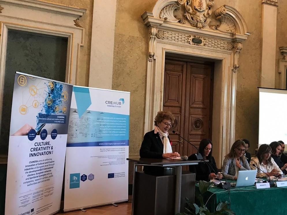 Intervento dell'assessore regionale alla Cultura Tiziana Gibelli durante il workshop per il progetto Cre:Hub