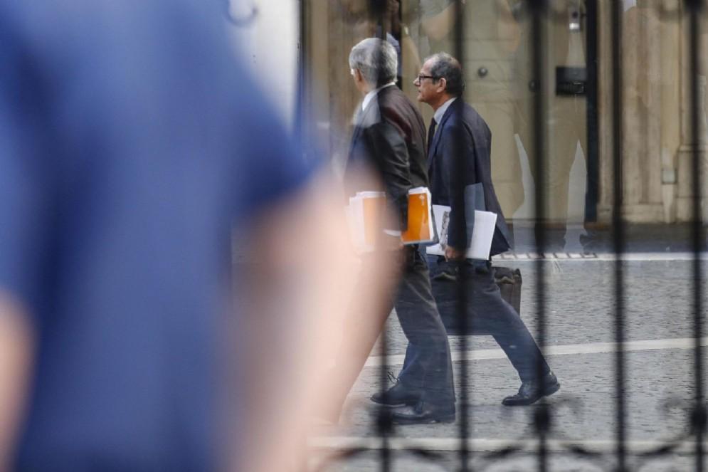 Il ministro dell'Economia Giovanni Tria a Palazzo Chigi per il vertice di maggioranza