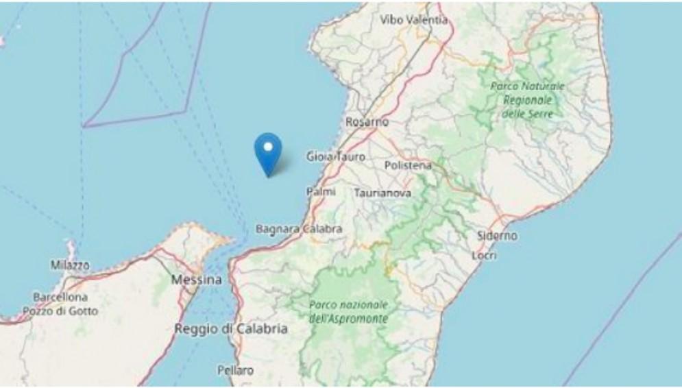 L'epicentro del terremoto avvertito in Calabria