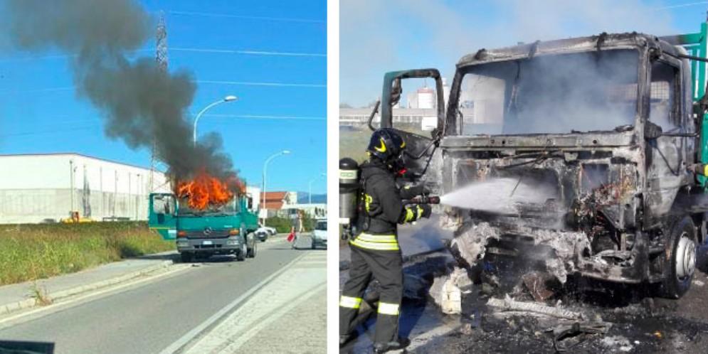 Camion a fuoco in località Cascina Rinaldi: intervengono i Vigili del Fuoco