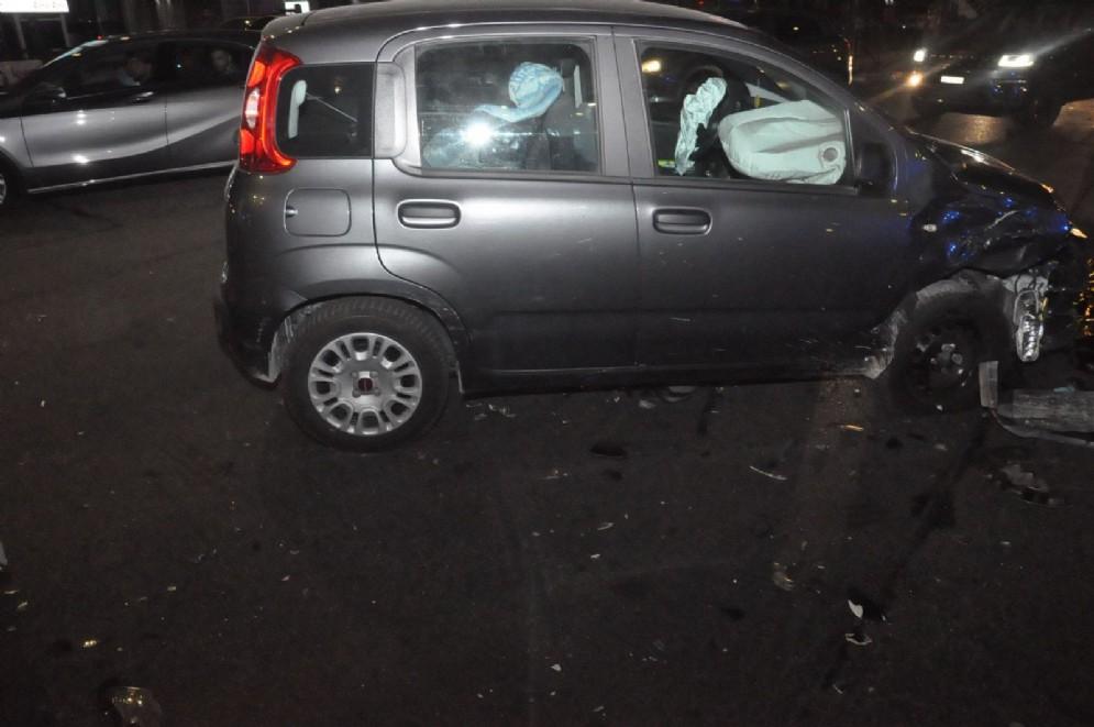 La Fiat Panda dopo l'incidente