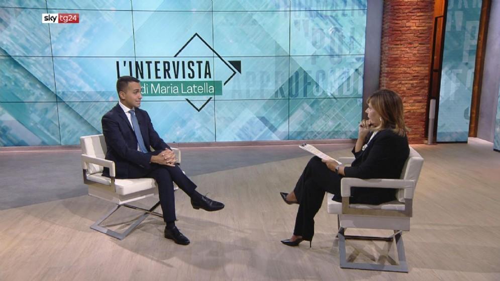 Il vicepremier e ministro del Lavoro e dello Sviluppo Economico, Luigi Di Maio, durante «L'intervista» di Maria Latella