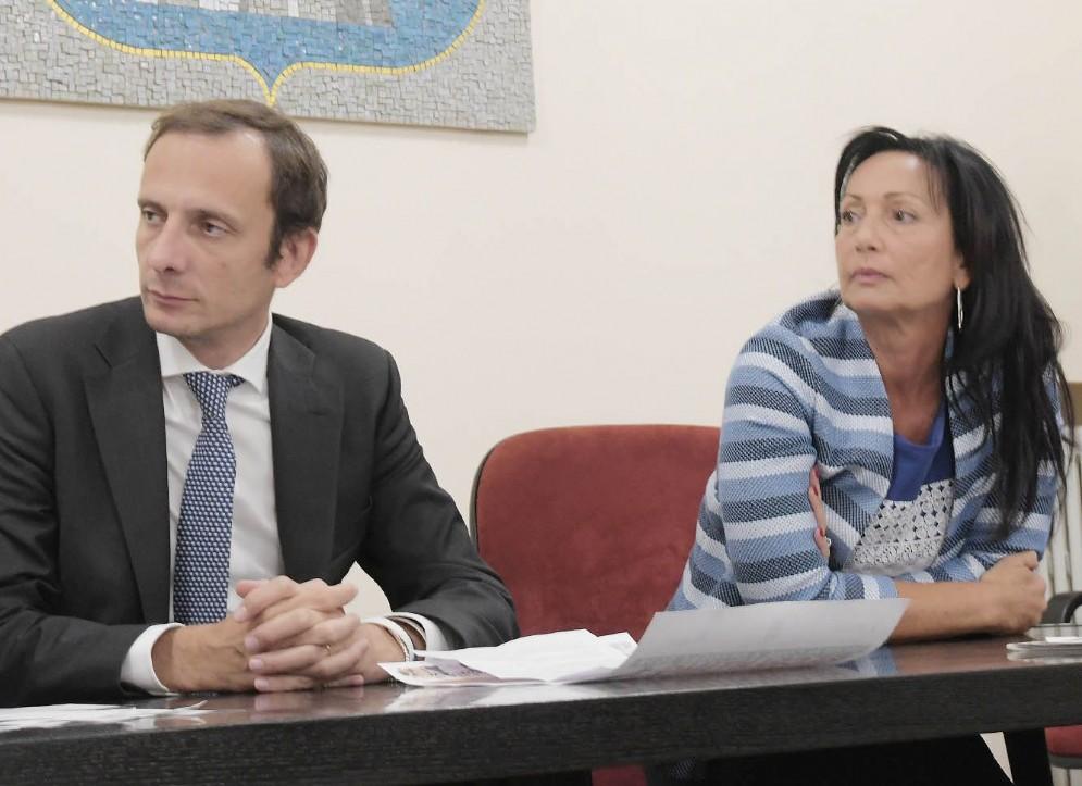 Governatore Massimiliano Fedriga e sindaco di Monfalcone, Anna Cisint