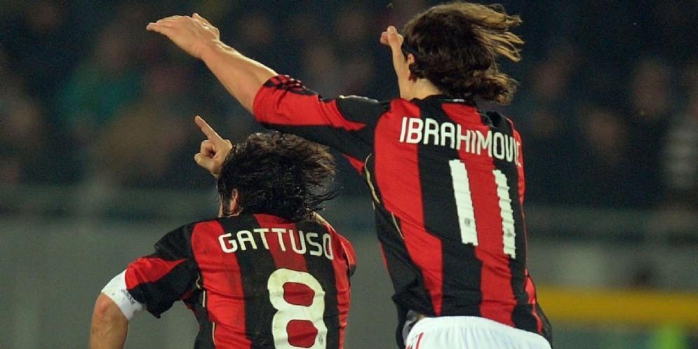 Gattuso e Ibrahimovic quando giocavano insieme al Milan