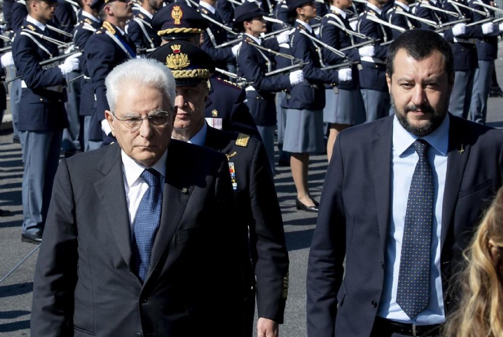 Il presidente della Repubblica Sergio Mattarella con il ministro dell'Interno Matteo Salvini
