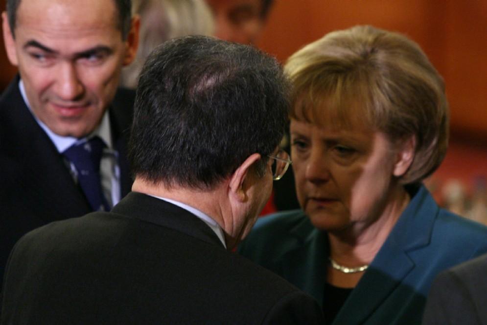 Romano Prodi e Angela Merkel