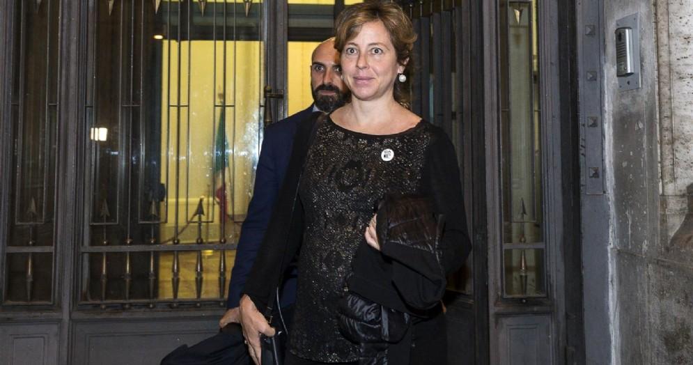 La ministra della Salute, Giulia Grillo, al termine della riunione dei ministri M5S nella sede del Ministero per i Rapporti con il Parlamento