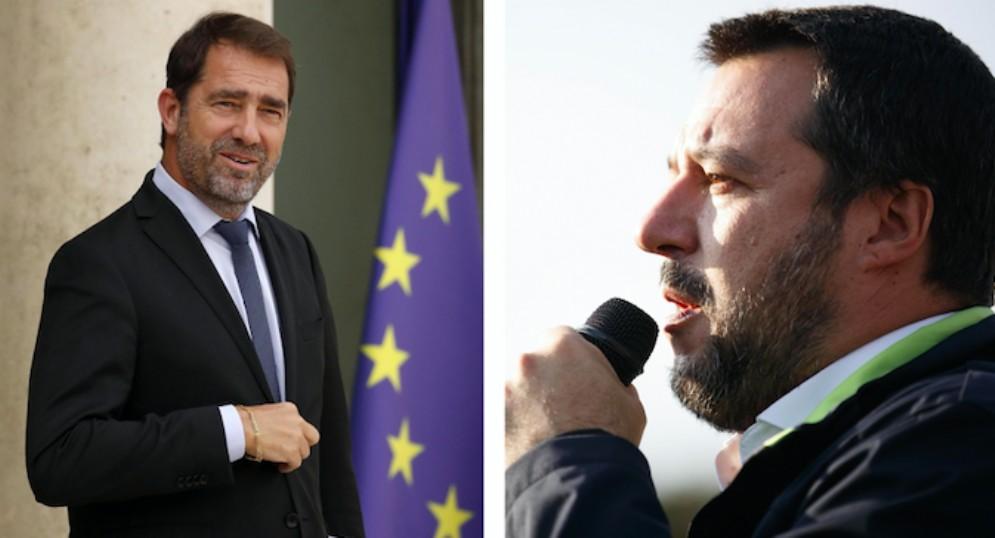 Il ministro dell'Interno francese, Christophe Castaner, e quello italiano Matteo Salvini